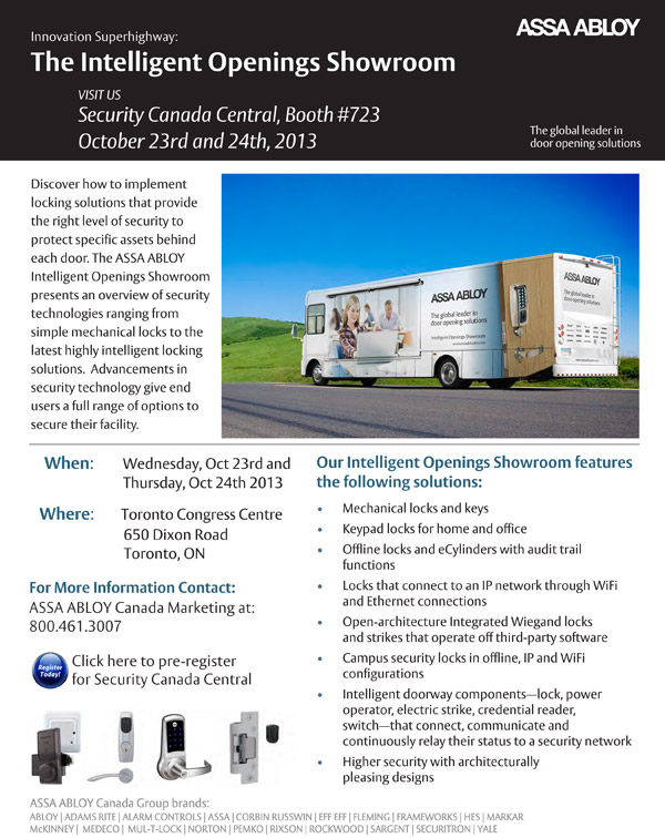 Visit the ASSA ABLOY Intelligent Openings Showroom at Security Canada Central