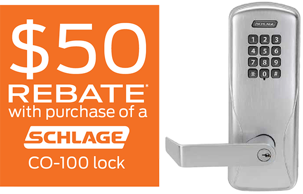 $50 Rebate with purchase of a Schlage CO-100 lock